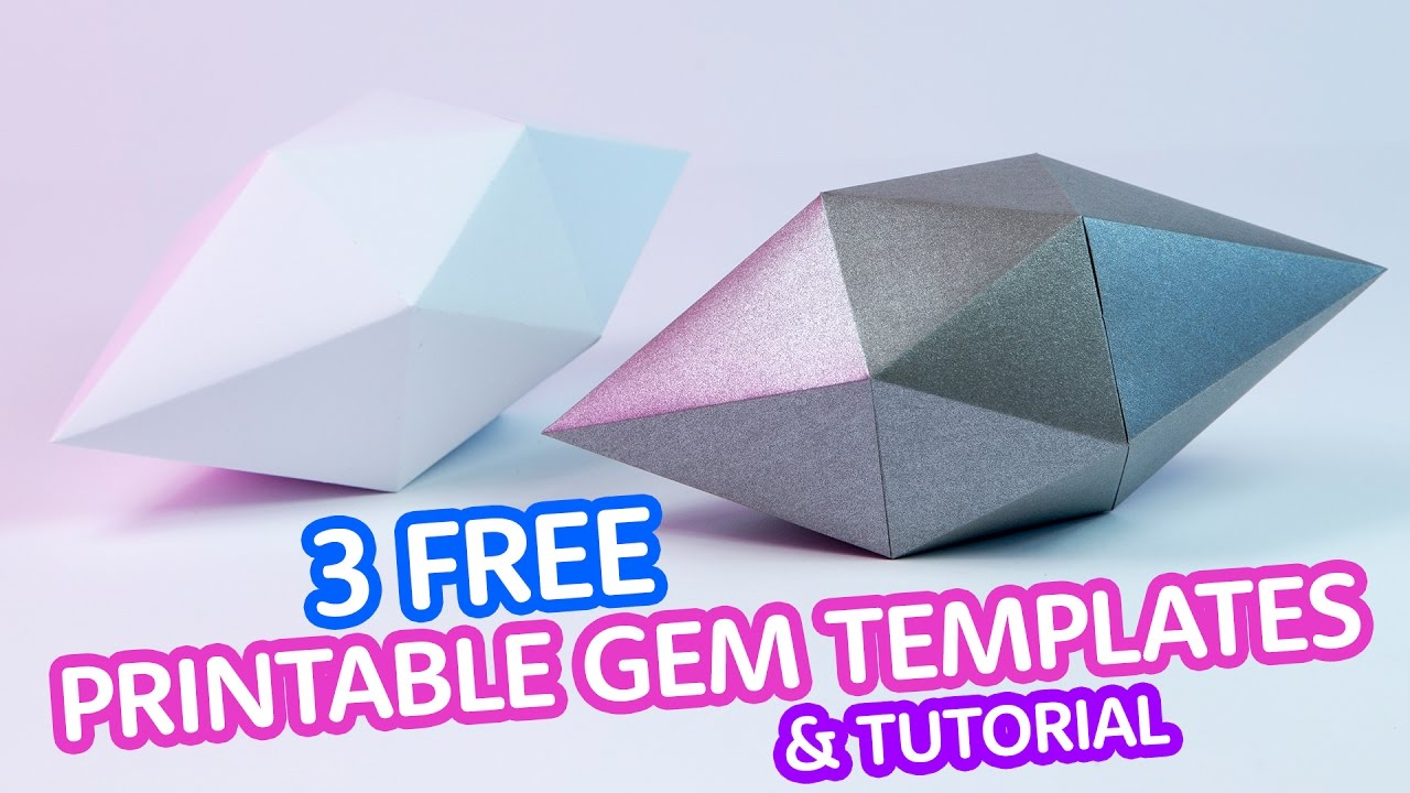 3 FREE Printable Gem Templates Tutorial New Ebook Paper Kawaii
