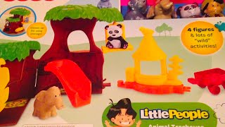 LITTLE PEOPLE [Fisher Price] Animal Treehouse Play Set with Elephant, Monkey, Panda and Child Toy