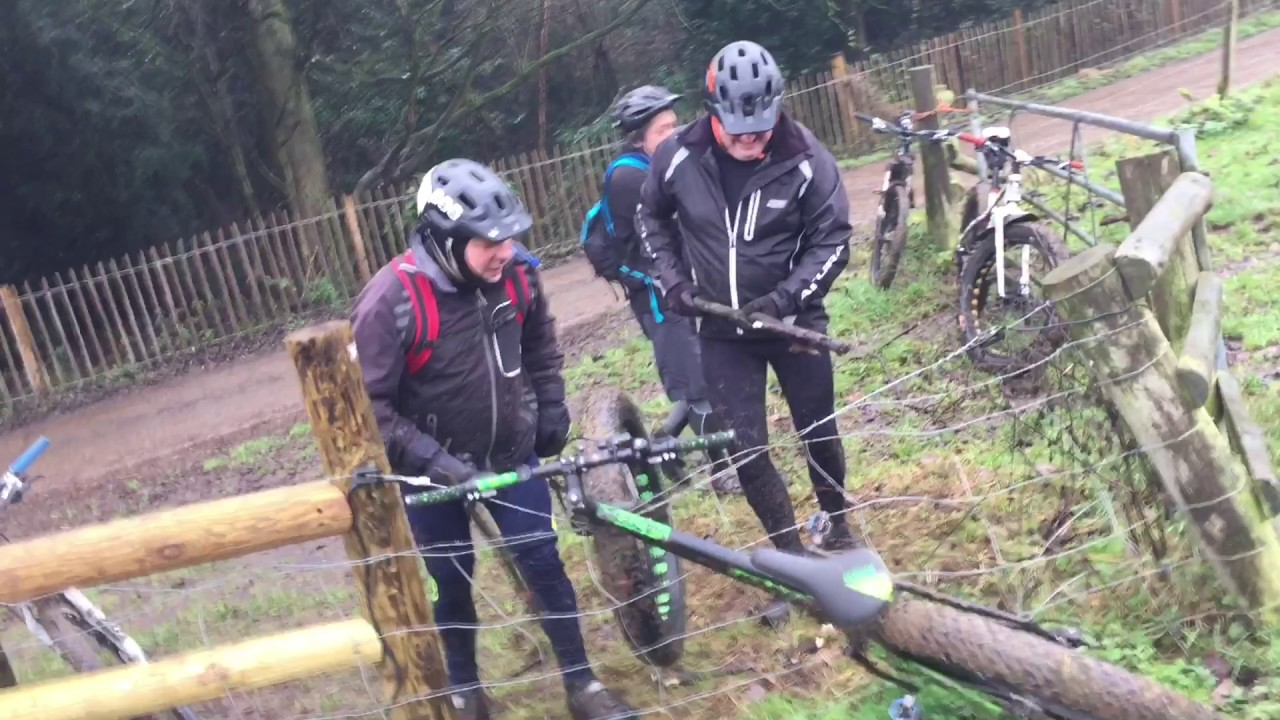Three men trying to pull a bike stuck in an electric fence
