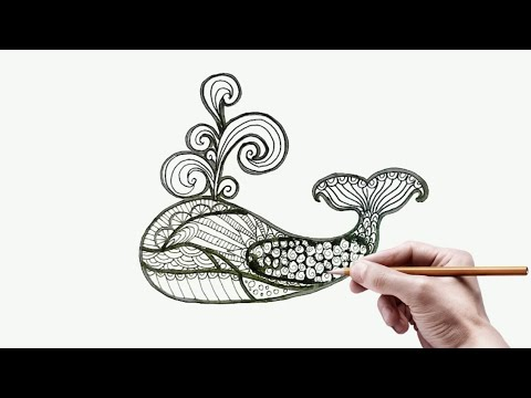 Menggambar Ragam Hias Fauna Ikan Paus Mudah Zentangle Ornamen Desain Batik Fauna Youtube