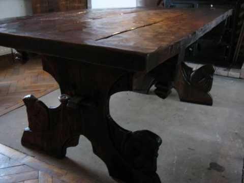 John Howe Inspired Carved Green Oak Table Medieval Fantasy