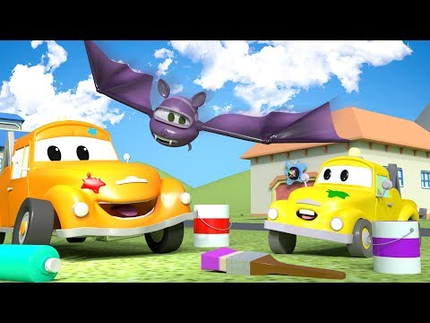 HALLOWEEN ! Baby Hector the HELICOPTER is a BAT ! - Tom's Paint Shop in Car City 🎨 l Cartoons Kids