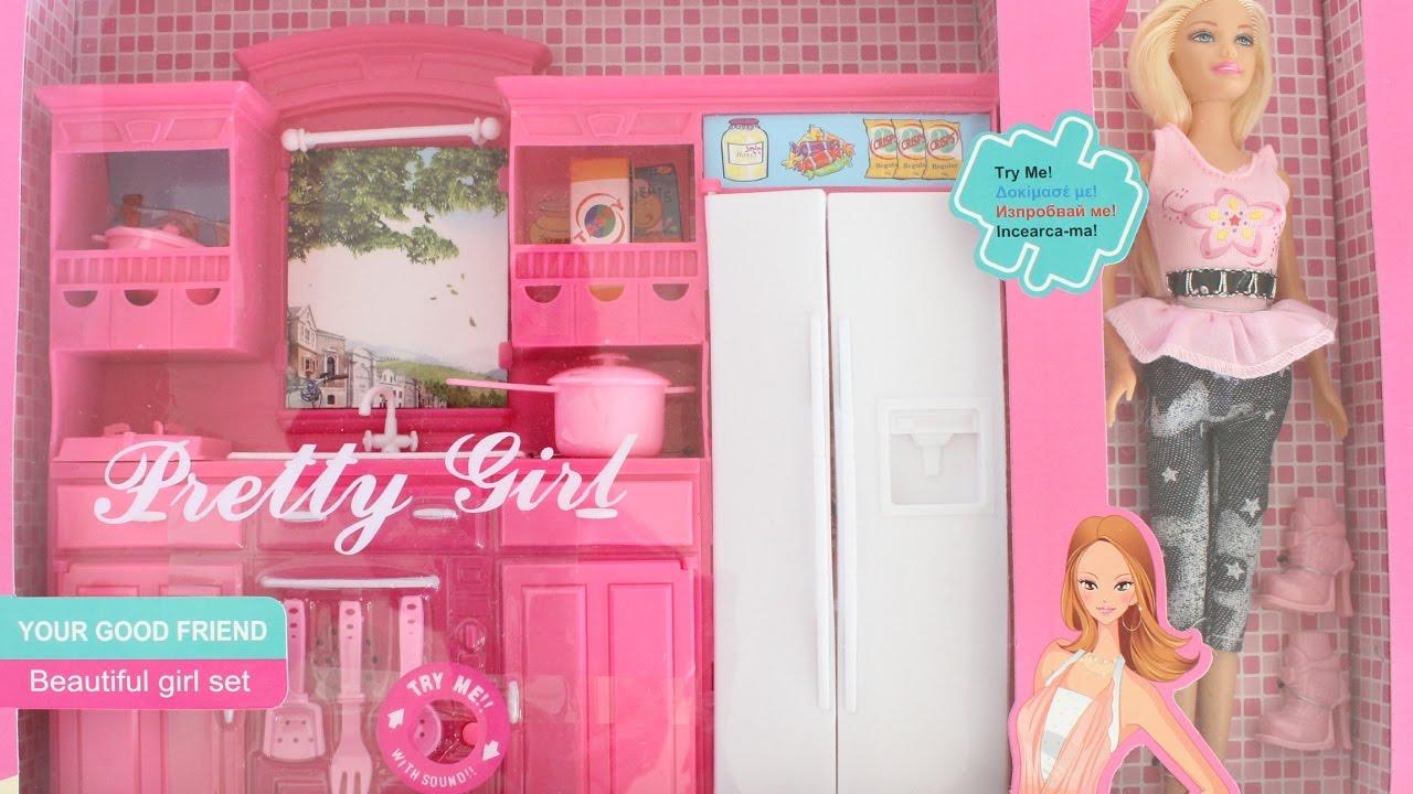 Barbie dream pink kitchen set tiatia youtube for Barbie kitchen set 90s