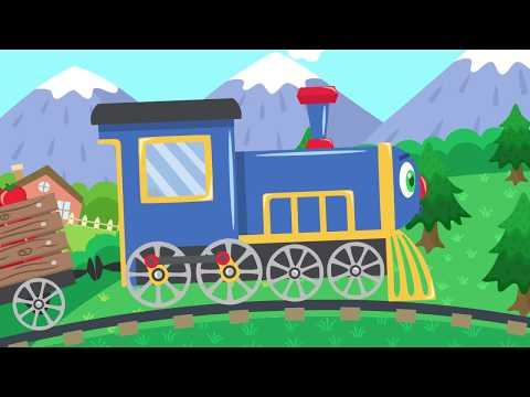 Разноцветный паровозик мультфильм