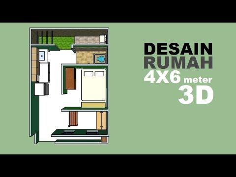 Lahan Sempit Masih Bisa Bikin Rumah Desain Rumah 4x6 Meter 3d Youtube