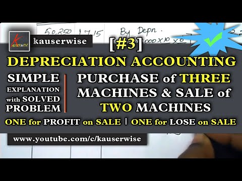 [#3]Depreciation Accounting [Purchase Of 3 Machinery & Sale Of 2 Machinery]  :- By Kauserwise