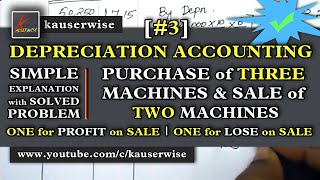 [#3]Depreciation -  Machinery a/c [Purchase of 3 Machinery & sale of 2 Machinery]  :- by kauserwise