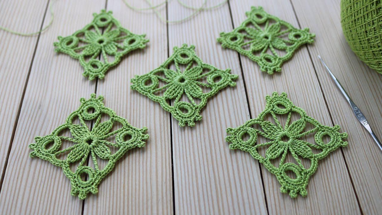 Простой КВАДРАТНЫЙ МОТИВ вязание крючком МАСТЕР-КЛАСС схема мотива Crochet motif tutorial patterns