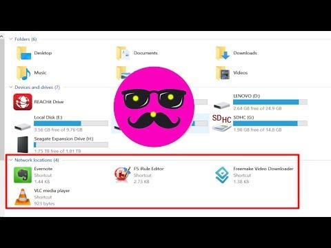 Add network shortcut in windows 10 file explorer menu