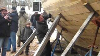 Billy Campbell Fastens Shutter Plank On His New Lunenburg Schooner