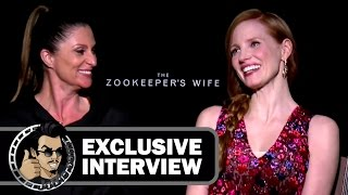 Jessica Chastain & Niki Caro Exclusive THE ZOOKEEPER'S WIFE Interview (JoBlo.com) 2017