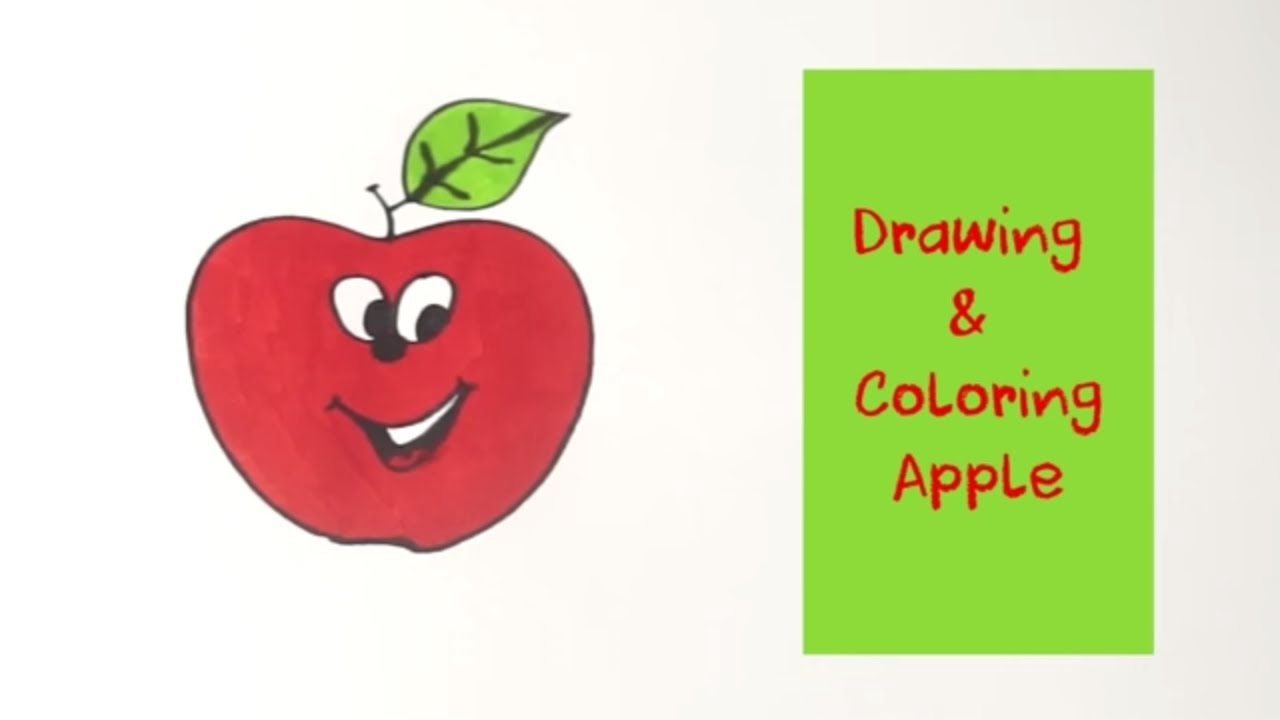 How to Draw Apple Coloring Pages | Youtube Videos Kids Learning ...