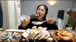 실시간편집본) 엄마표 김장김치와 직접 삶은 수육 먹방 Boiled pork belly  Mukbang