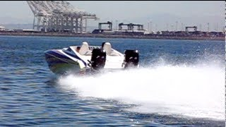 Skater Flyby 600HP High Speed Boat in Long beach California Twin Mercury Pro Max 300's