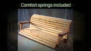 Tmp Outdoor Furniture Classic Roll Back Red Cedar Porch Swing