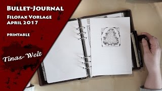 bullet journal filofax vorlage a5 april 2017 printable