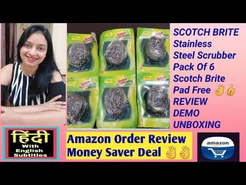 scotch-brite-review-stainless-steel-scrub-and-scrub-pad-combo,-unboxing-demo---in-hindi