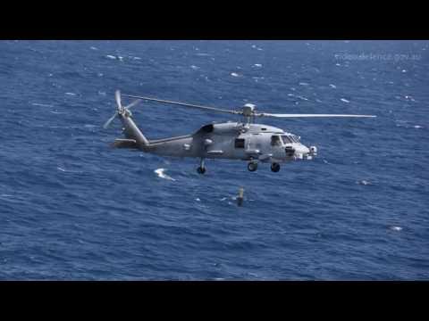 MH-60R landing on HMAS Perth
