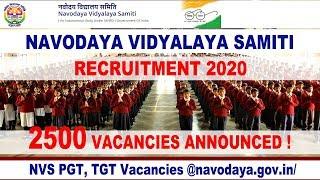 NVS Teachers Recruitment 2020 || 2500 +Vacancies || Navodaya Vidyalaya Samiti TGT PGT