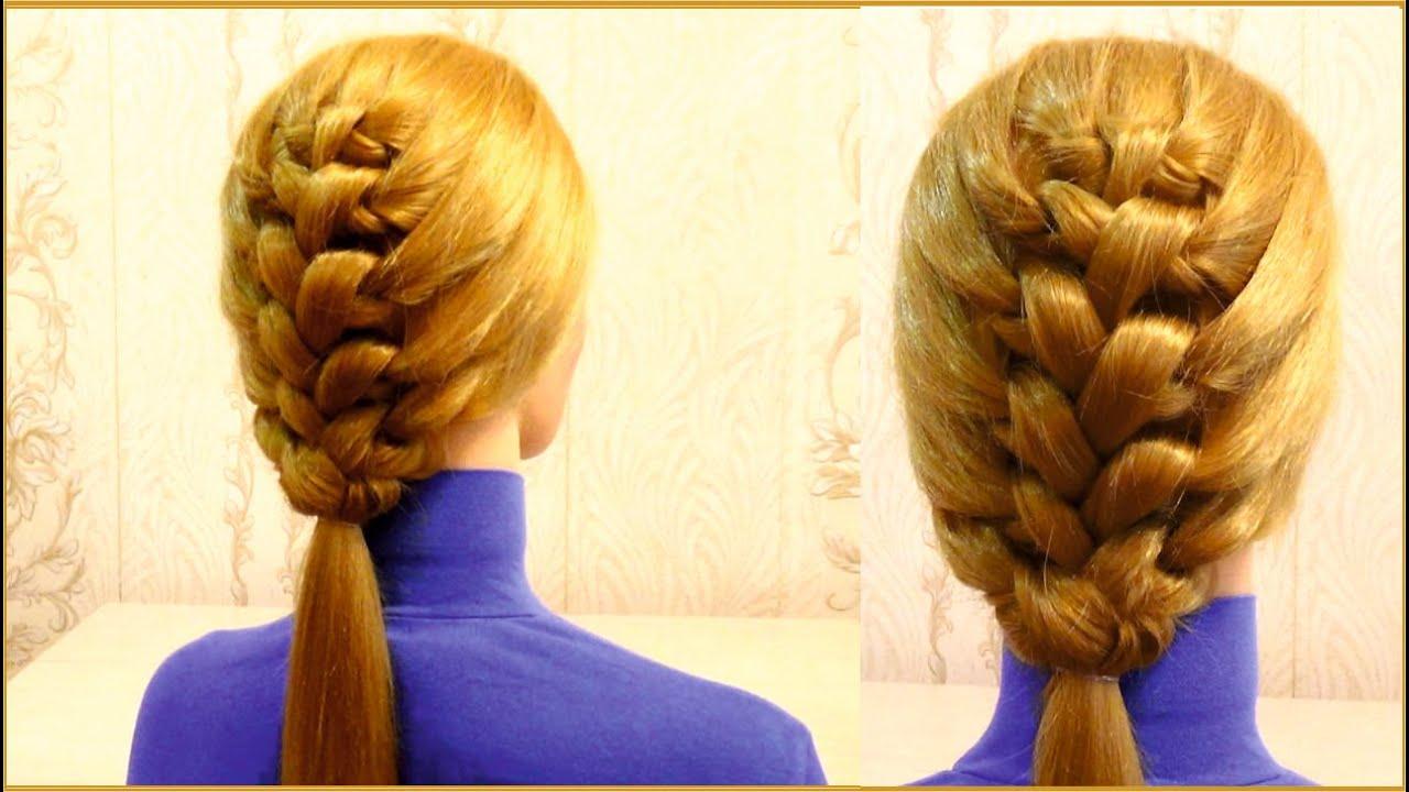 Прическа в школу на средние волосы. Плетение косичек. Girls hairstyle for school