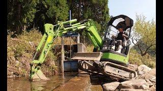 2021年河川取水門の土砂撤去、第一弾!ユンボで土砂を撤去します。【ASMR】