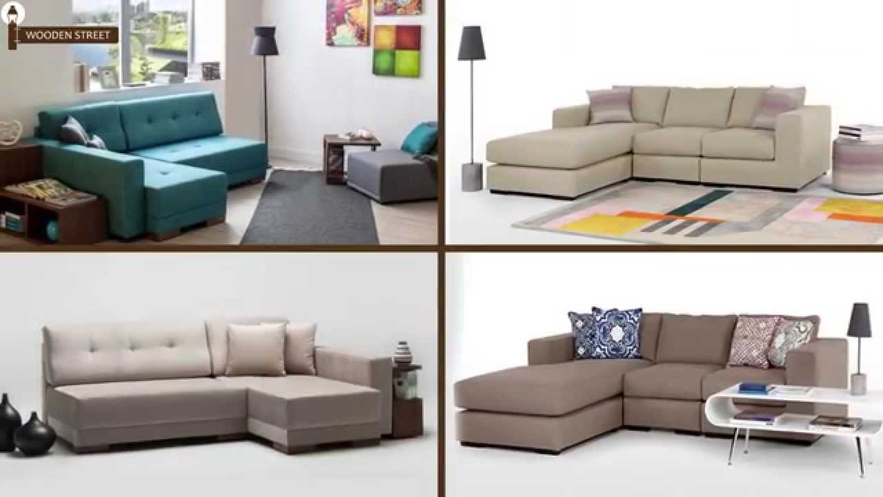 L Shaped Sofa Online - Corner Sofas Online from Wooden Street - YouTube