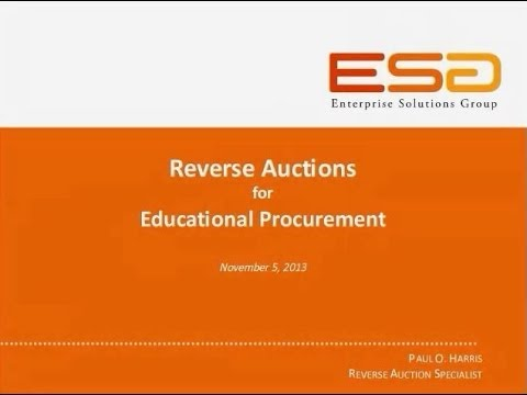 WEBINAR: Reverse Auctions for Educational Procurement