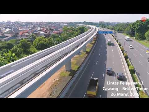 Aerial View - Progress Kereta Api Ringan (LRT) Jabodebek per Maret 2018