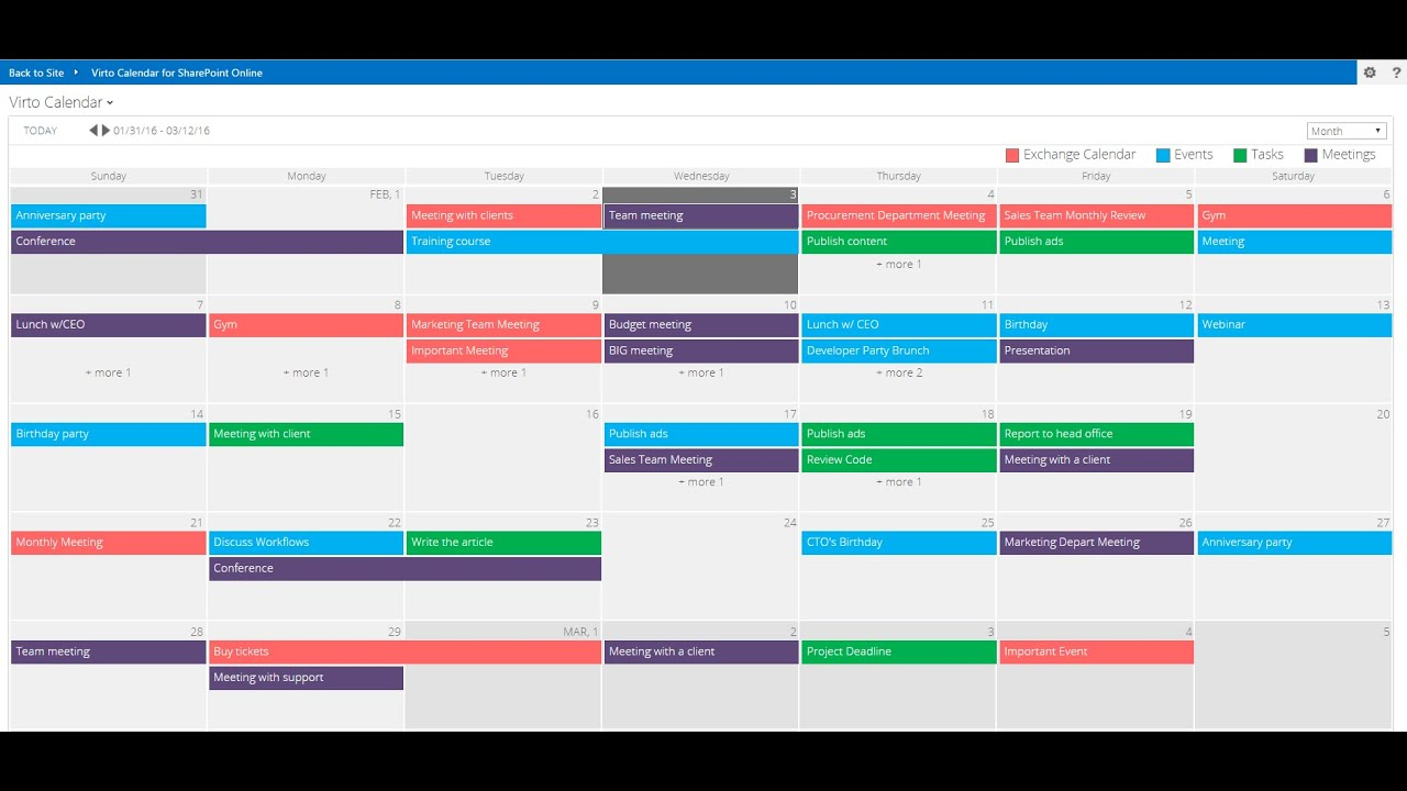Weekly Calendar View Sharepoint : Office calendar app overview youtube