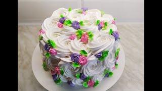 Вся КРАСОТА в ПРОСТОТЕ Как ЛЕГКО и КРАСИВО украсить торт Белково заварное украшение торта