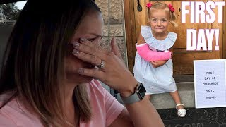 MOTHER'S EMOTIONAL REACTION TO YOUNGEST DAUGHTER'S FIRST DAY OF PRESCHOOL WITH A BROKEN ARM