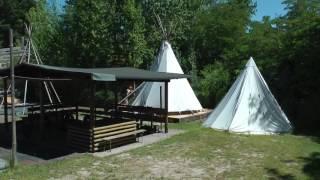 Tipi-Camp mit  Blockhütten Vermietung am Almensee in Bad Dürkheim bei Pfalzaktiv