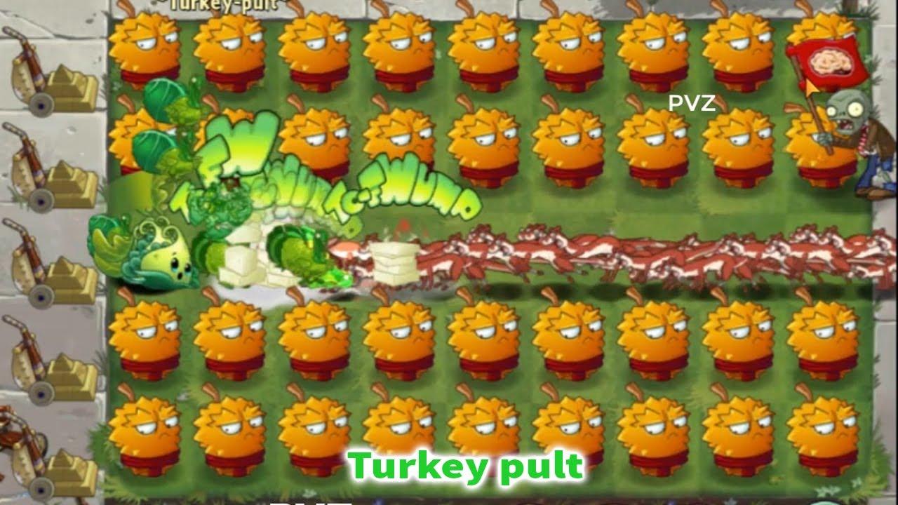 PvZ 2 100 Turkey-pult Vs 99999 Ice Weasel  Zombie Level 100 Plants vs Zombies 2
