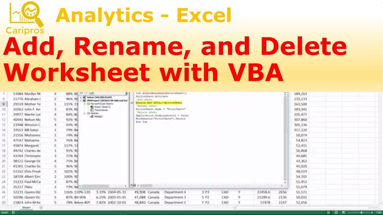 Add rename and delete worksheet with vba macro for beginner add rename and delete worksheet with vba macro for beginner ibookread PDF