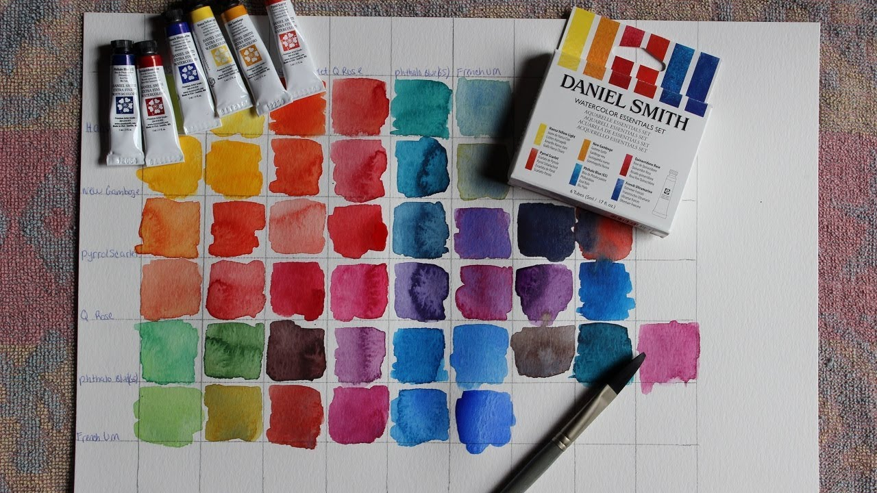 daniel smith essentials watercolor set with review and color