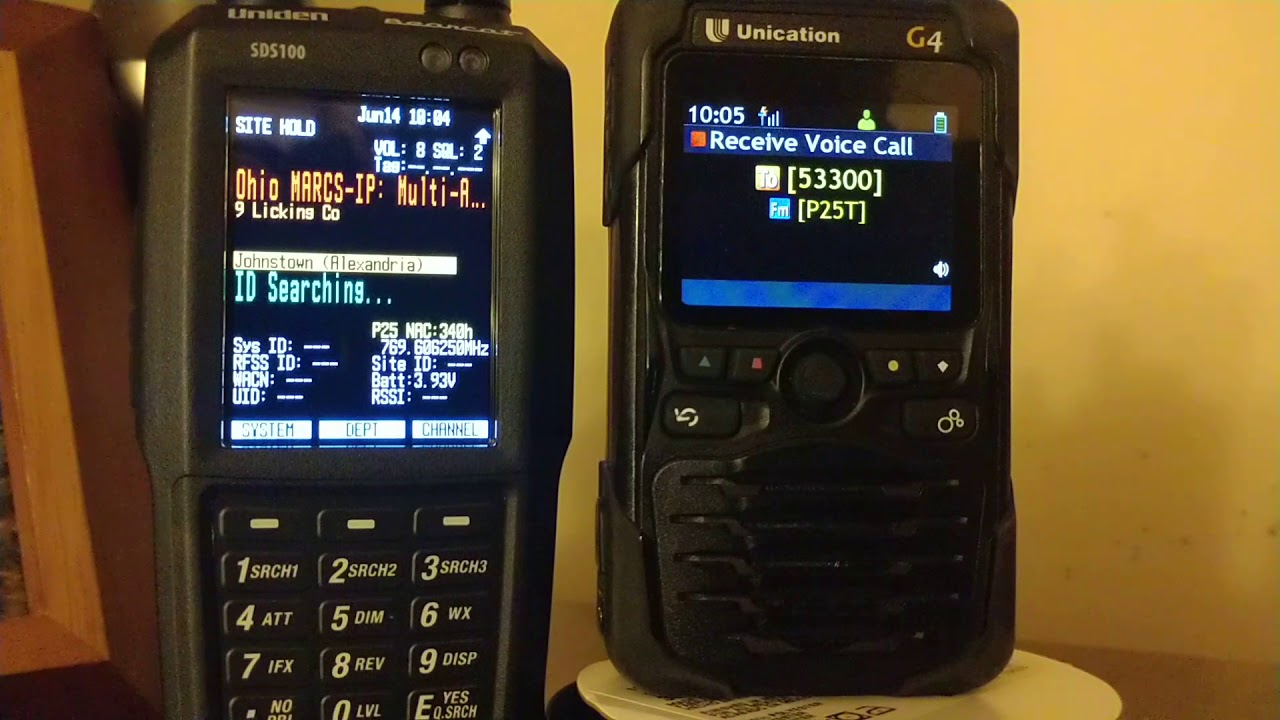 Repeat Uniden SDS100 VS UNICATION G4 receive by Madison FD