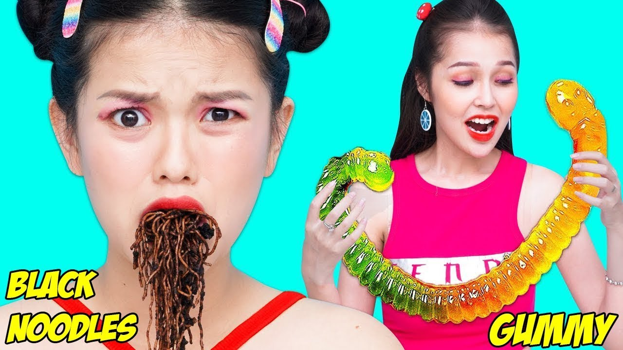 Girl DIY! 13 Gummy Food vs. Real Food Challenge! EATING GIANT GUMMY FOOD! Best Gross Real Worm Candy