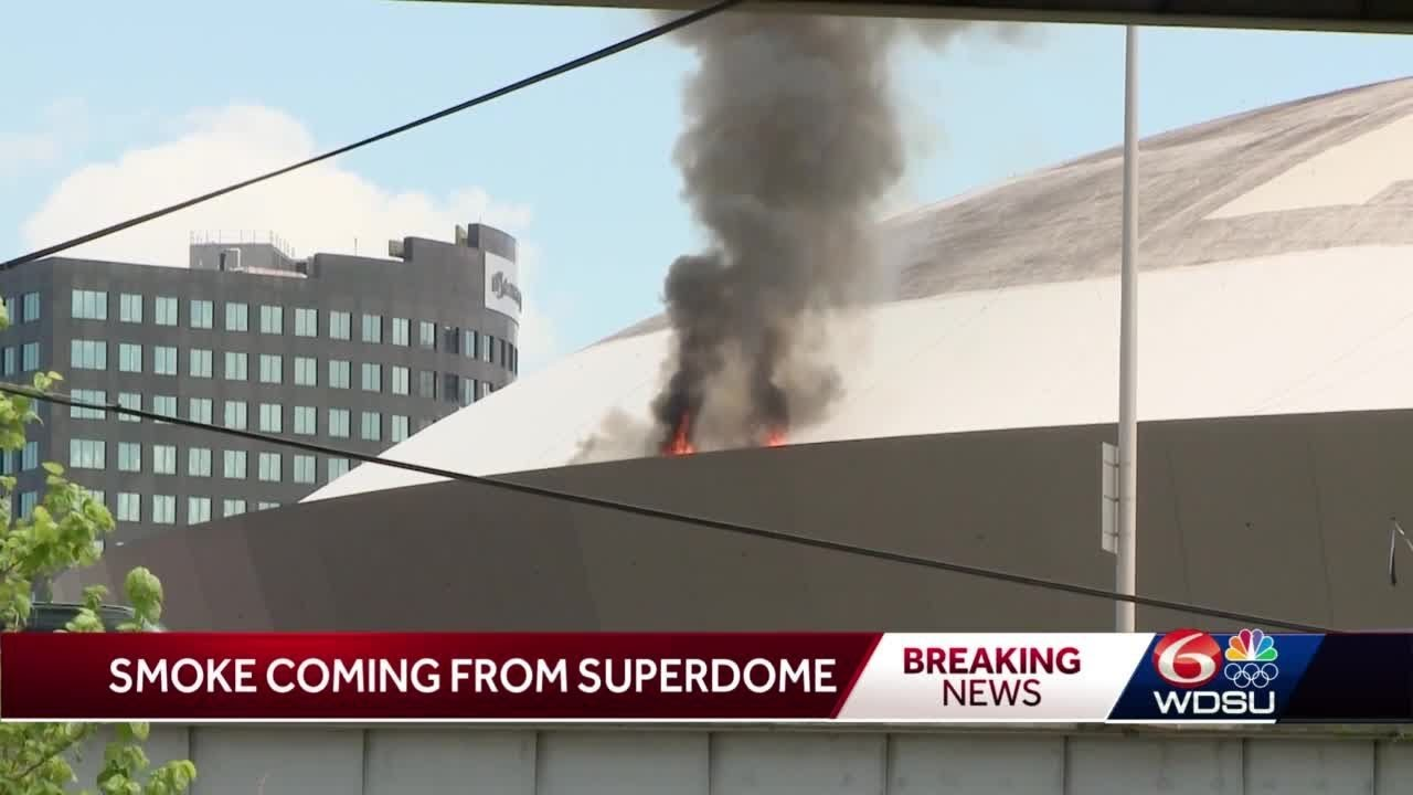 Caesars Superdome roof catches fire as crews clean, injuring one ...