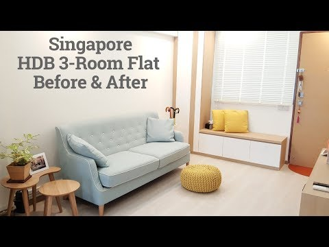 HDB 3-room resale flat Before and After Renovation - Interior Design 新加坡舊三房式组屋裝修前後