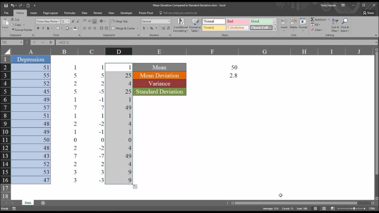 how to show mean and standard deviation excel
