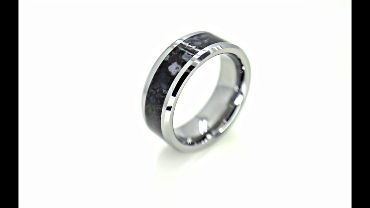 watch dinosaur bone inlaid blue wedding rings ring devonian tungsten edged beveled carbide