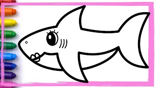 Mommy Shark Baby Shark Song Challenge Drawing and Coloring Pages Learn Colors | Whoopee Playhouse