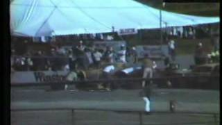 Slow pit stop by dirt pit crew at Riverside race 1982