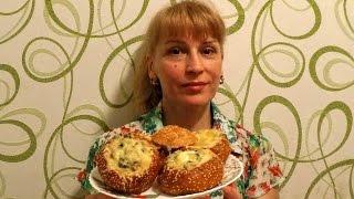 Праздничные горячие бутерброды на закуску к столу - Жульен в булочке