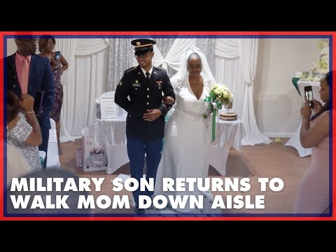 Military Son Returns From Deployment To Walk Mom Down Aisle