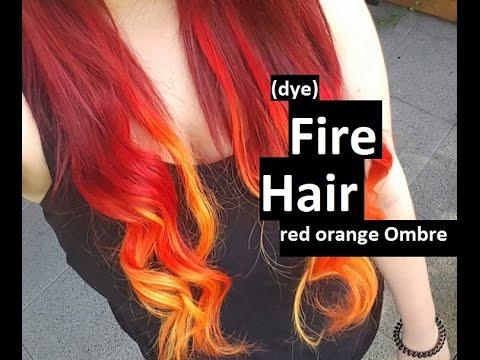 dye fire hair red orange ombre