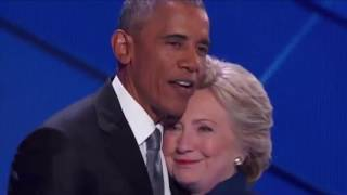 Hillary Clinton comes out to hug Obama after DNC speech