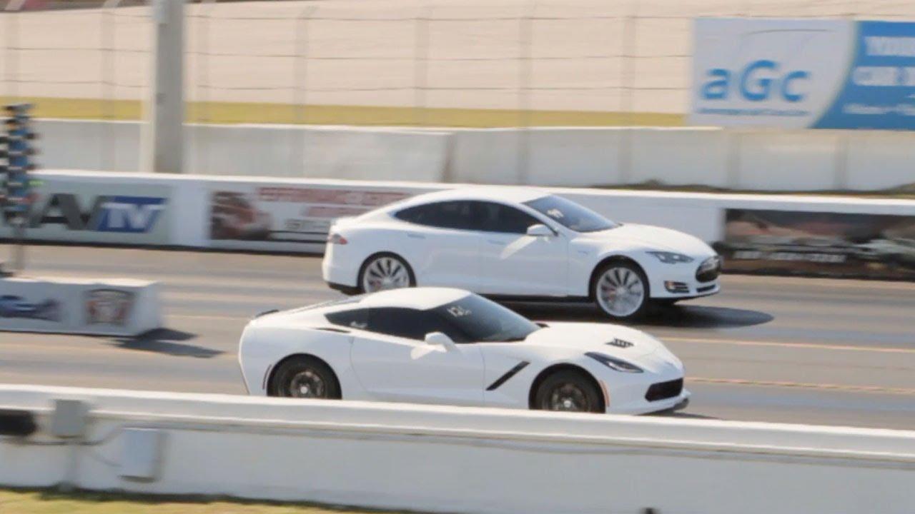 Tesla Model S P85d Vs Chevrolet Corvette C7 Stingray Drag Racing 1 4 Mile