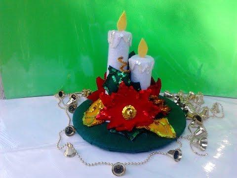 Nochebuenas hechas con limpia pipas poinsettia made of - Youtube centros de mesa navidenos ...