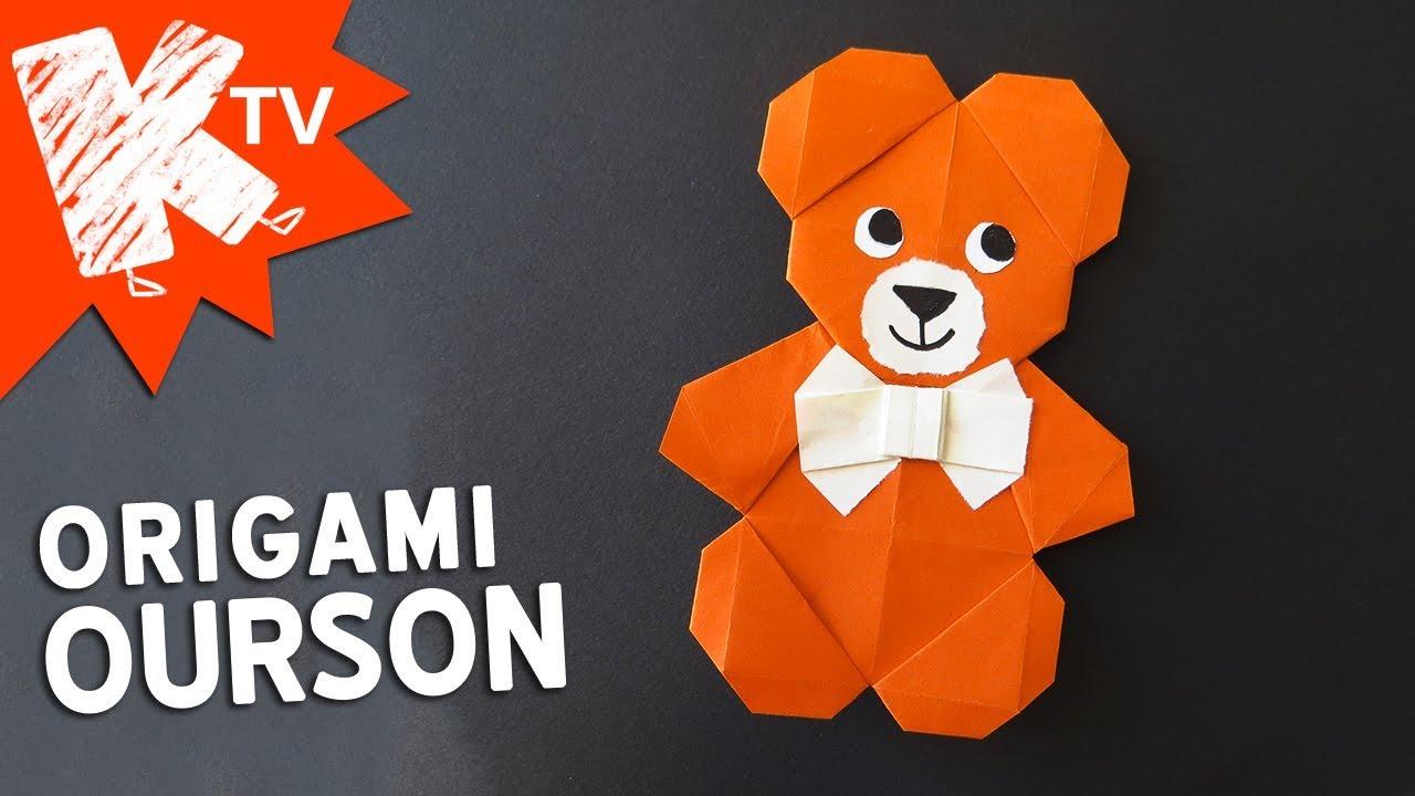 construction rationnelle lacer dans détaillant Origami ours facile - ourson en papier - La TÉLÉ des KIDS